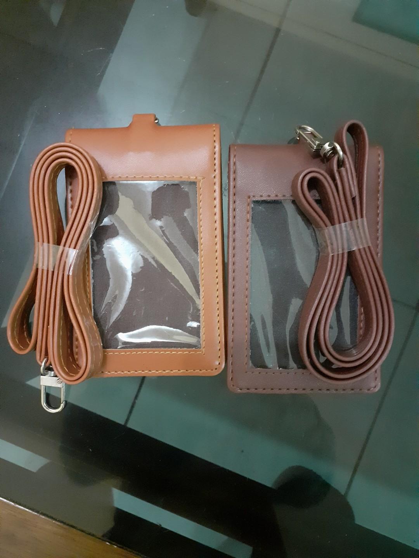 Tempat id card kulit kalep plus tali