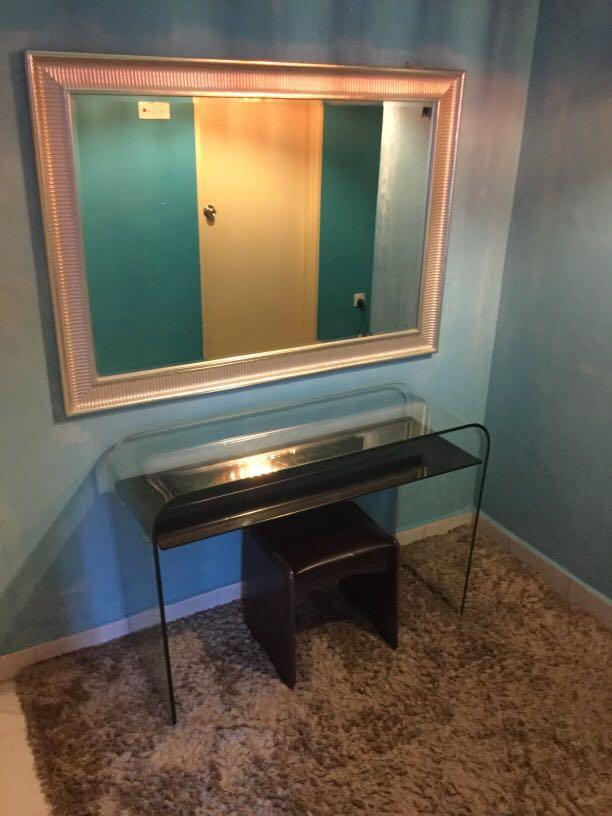 Tempered glass Dressing table, large Mirror