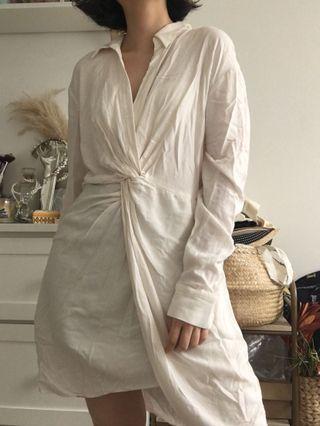 H&m linen blend twisted long shirt