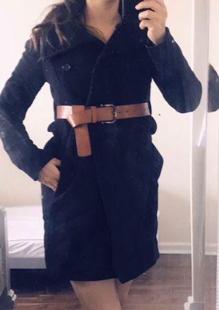 Wolfred aritzia wool coat xxs with brown aritzia belt