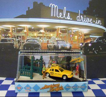 1/64 American graffiti 超精細 壓克力展示盒 場景 含Taxi車模 3人偶 背景圖