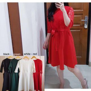 mix lace dress (red, black, white, green)