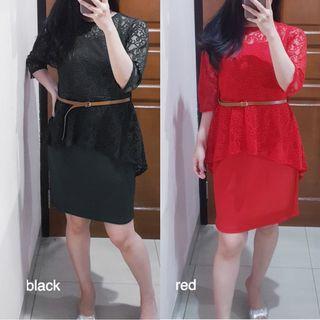 peplum lace dress (BLACK, RED)