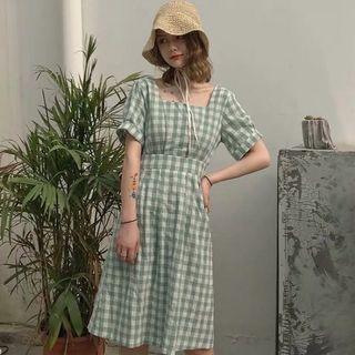 全新試穿 夏季 格子洋裝 收腰連衣裙 短袖洋裝 綠色洋裝