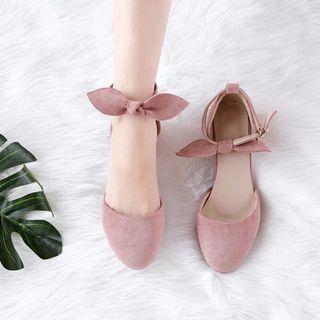 37號 粉紅 蝴蝶結 高跟鞋 跟鞋 粗跟 包頭鞋