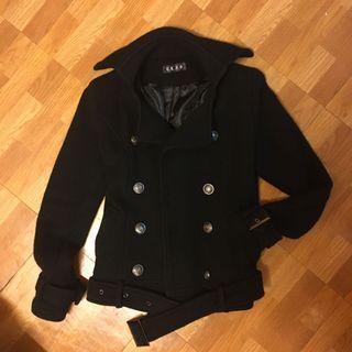 黑色 騎士 立領 短版 大衣