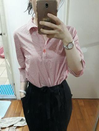 專櫃Miss iris 直條紋粉色桃色OL開襟上衣襯衫