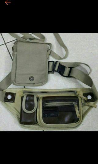腰包CHiNG卡其帆布包+uniqlo卡其手機包零錢包39x16cm背帶100cm小包16x11x3.5cm