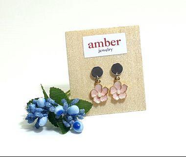 Pair of Pink Enamel Flower Dangle Earrings