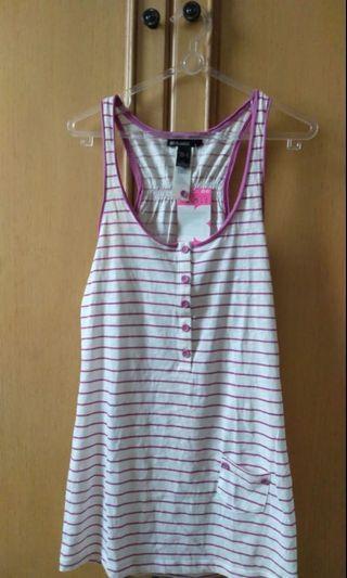 MANGO Basic Short Dress Pink Stripe