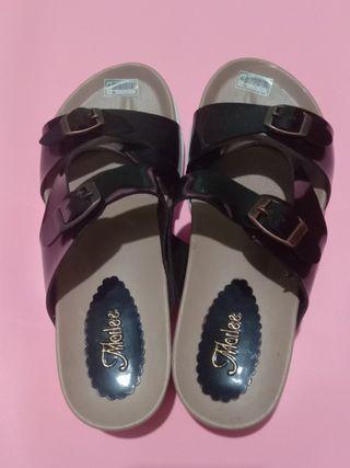 [New] Sandal Wedges Wanita - Cream Tali Hitam