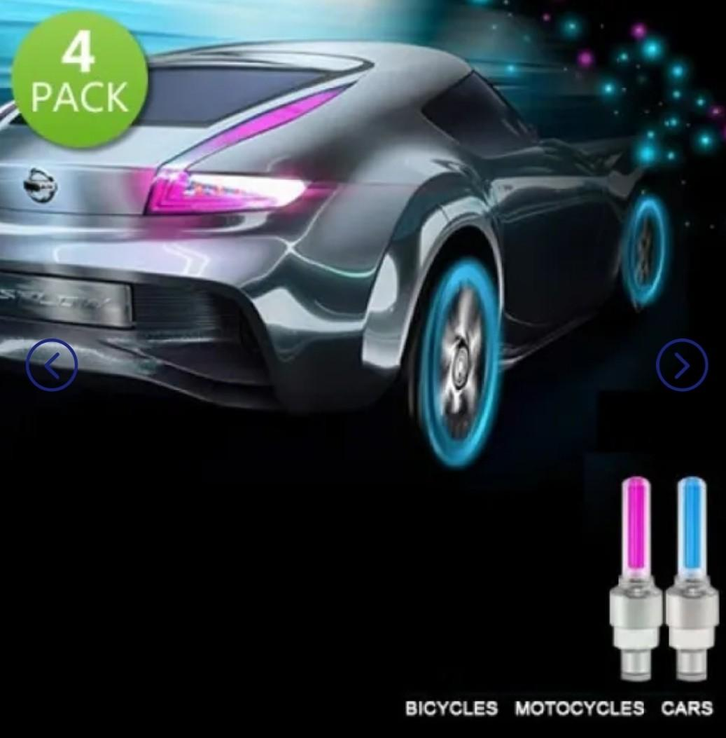 4-Pack: Motion Activated LED Tire Valve Stem Lights - Assorted Colors