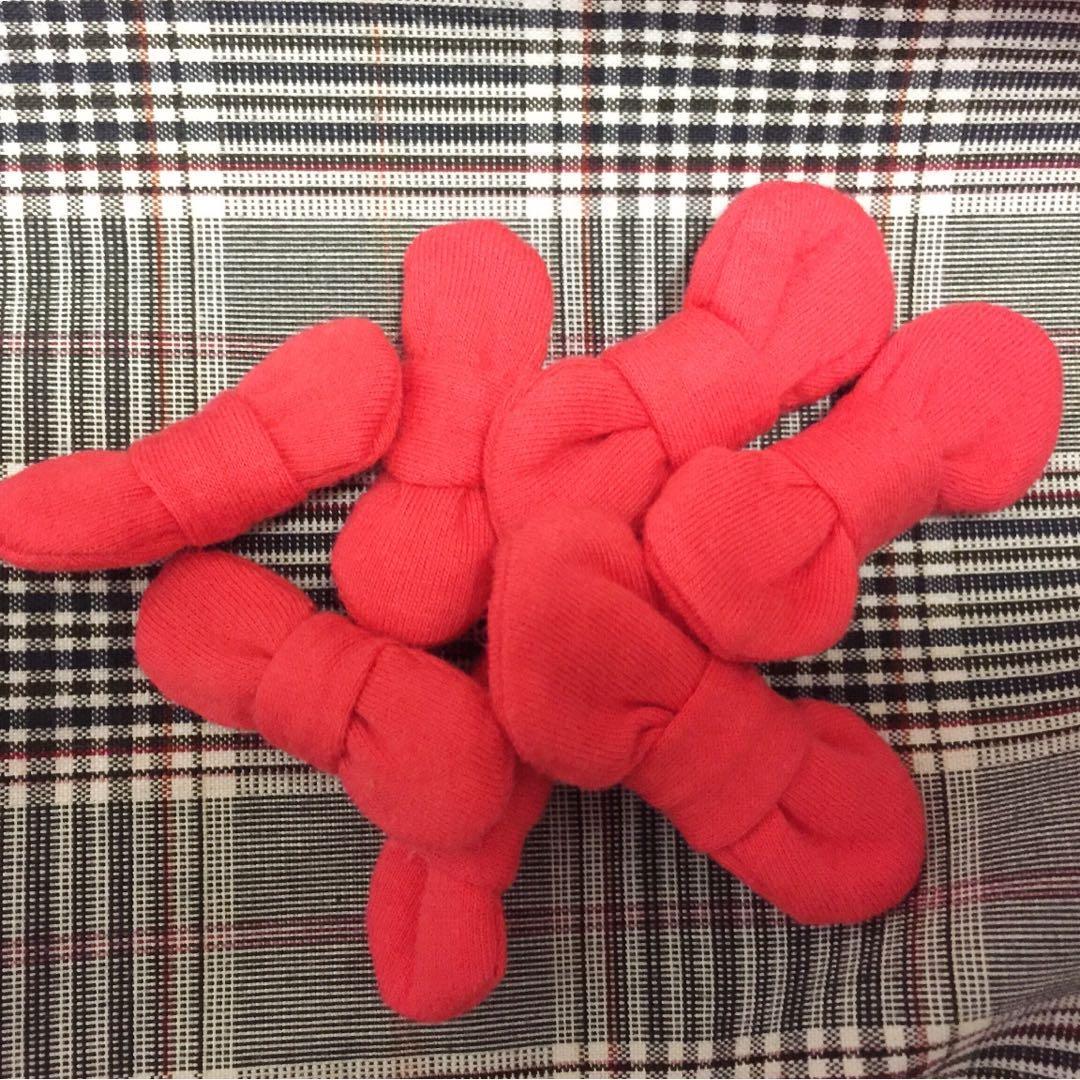 🆓橘紅色鋪棉蝴蝶結7個