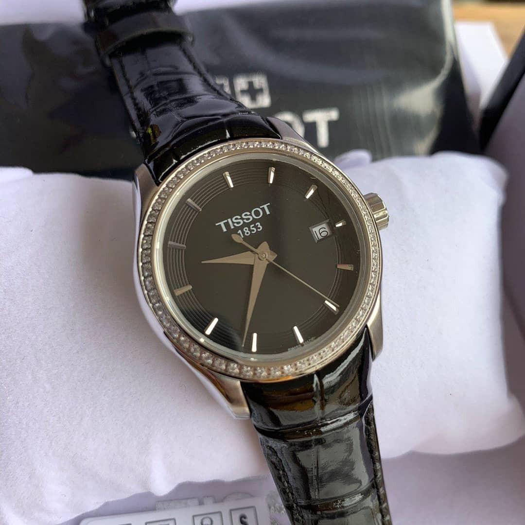 💯 Original Tissot T-Trend Couturier Women's Watch Black/Leather T035.210.66.051.00