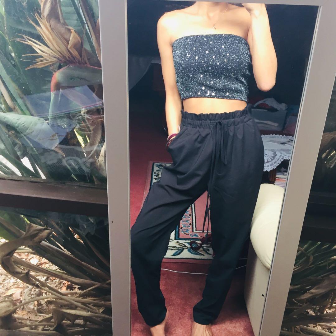 ATMOS & HERE black paperbag waist slacks / straight leg pants