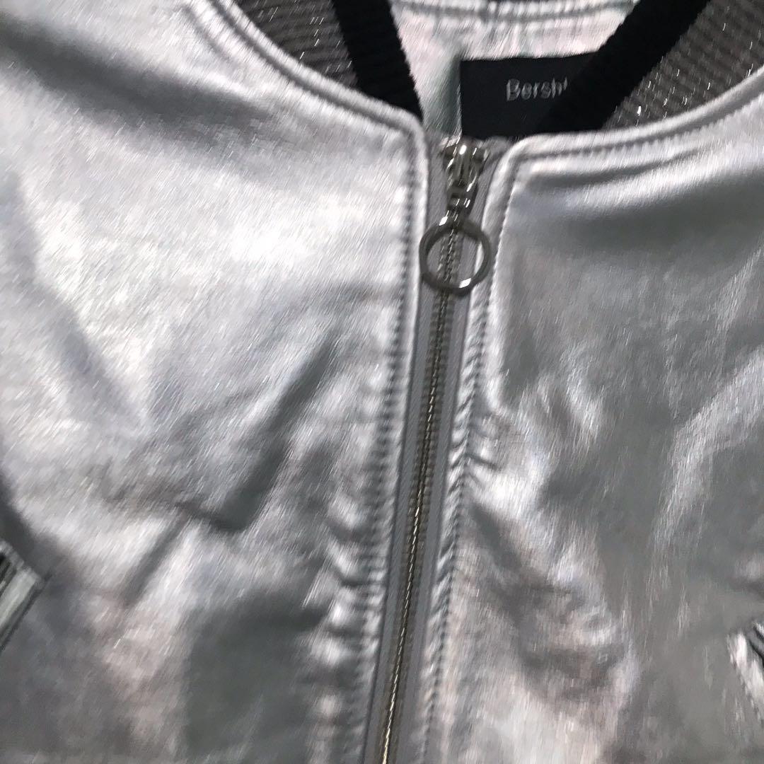 Bershka women's faux leather silver moto shiny jacket size small