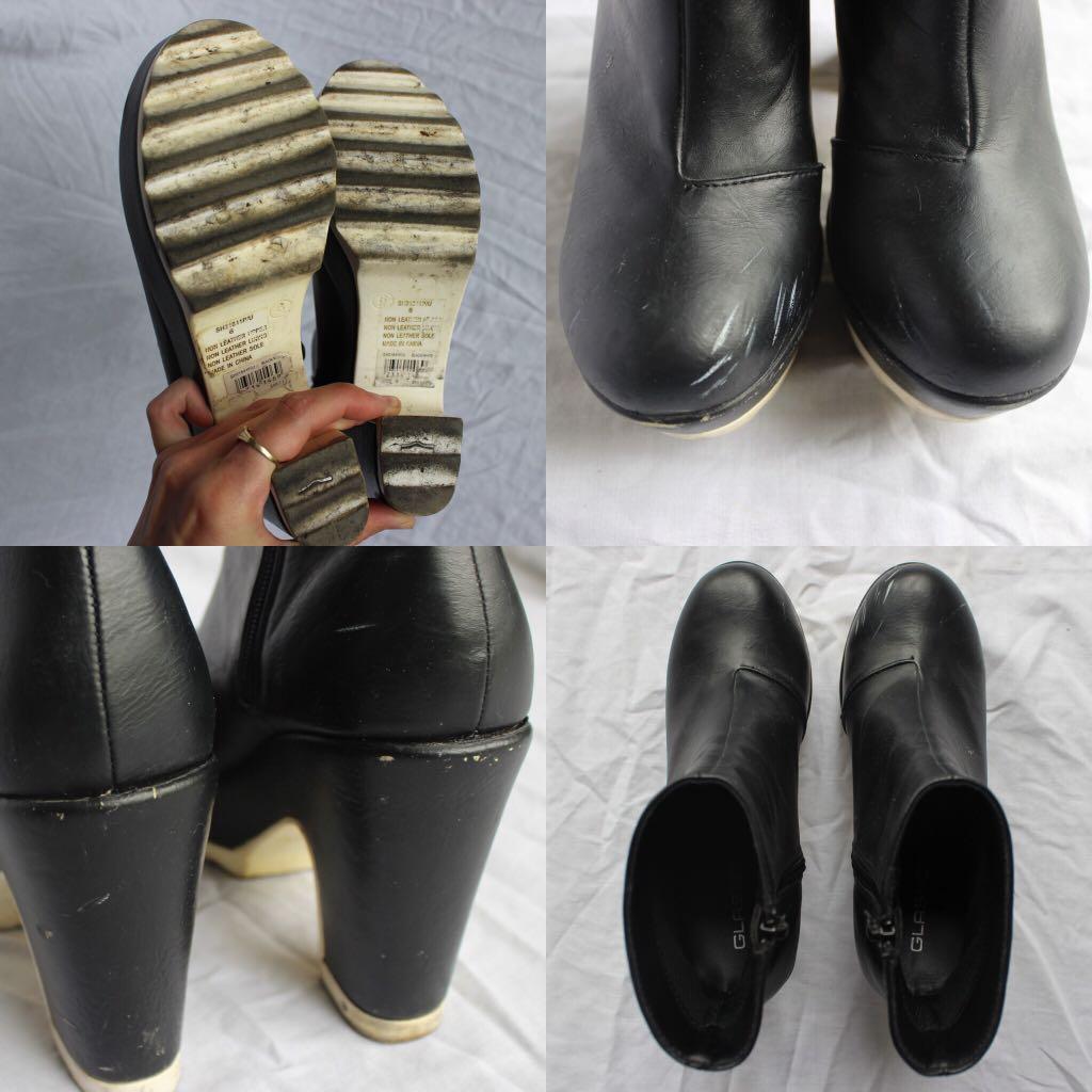 Black pleather contrast heel platform gogo booties