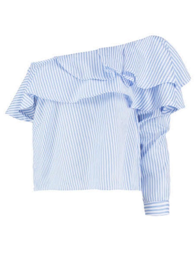 BOOHOO Petite One Shoulder Striped Ruffle Top BNWT