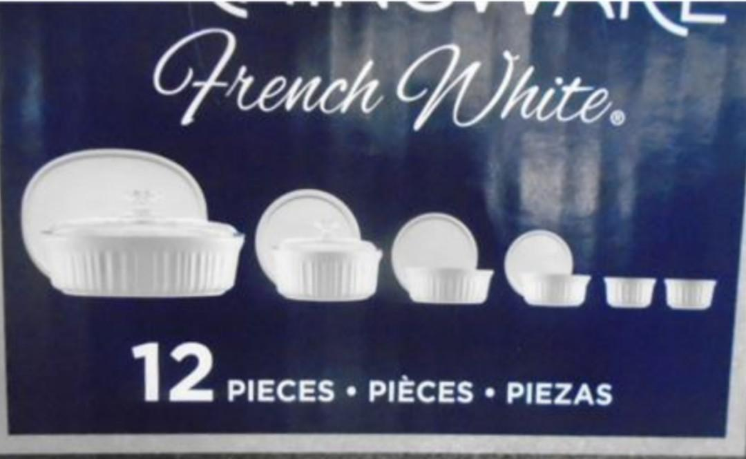 Brand New 12-Piece CorningWare French White Round and Oval Bakeware Set