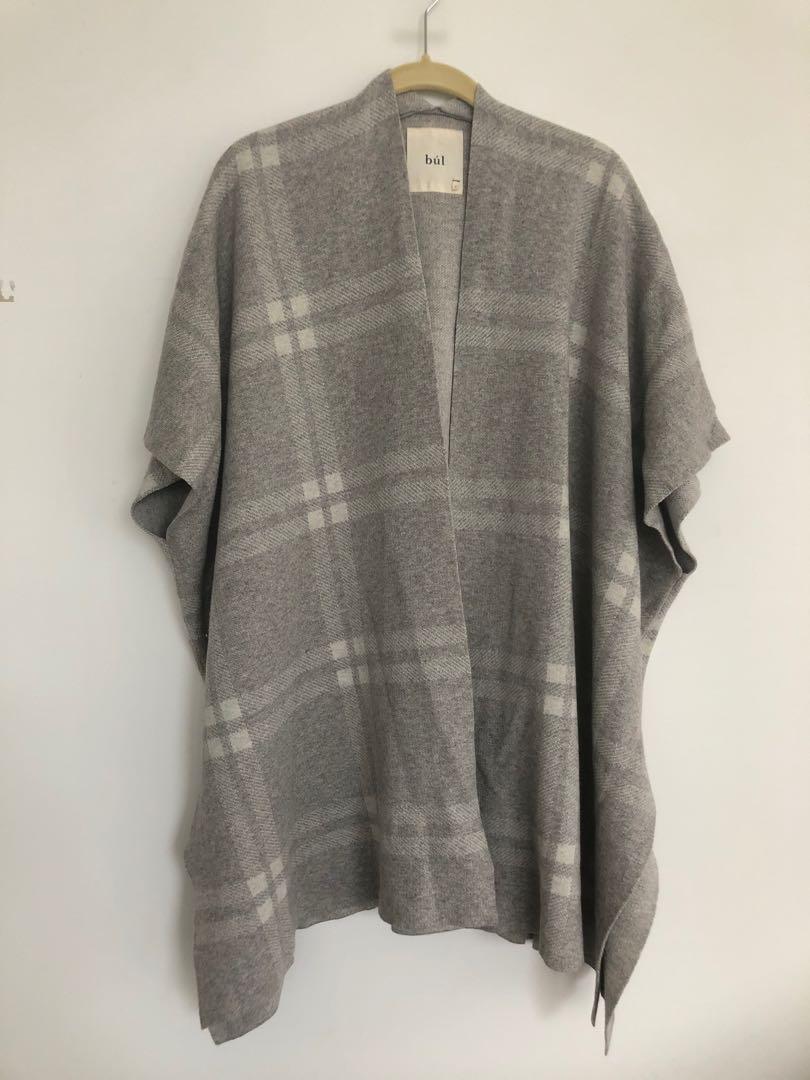 Bul wool cotton kimono style long cardigan wrap in taupe size 8