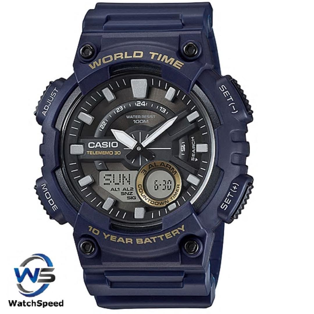 Casio AEQ-110W-2A Analog Digital World Time 100M Men's Watch