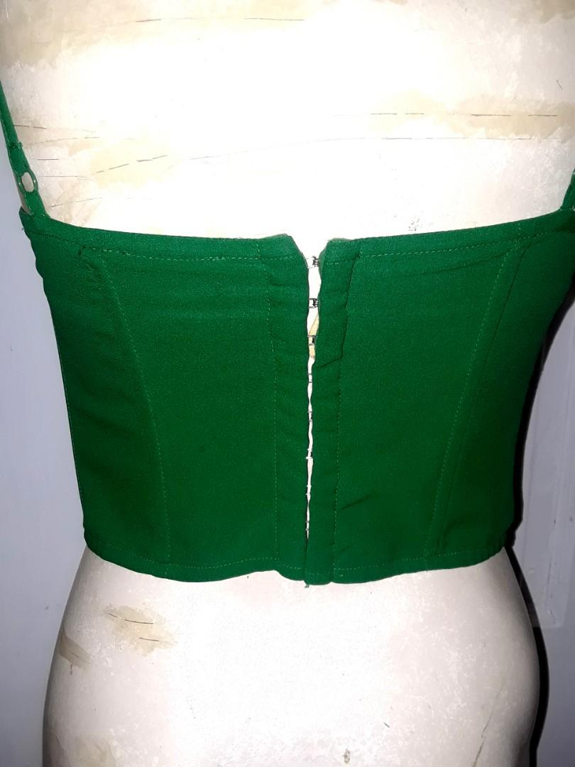 Leaf Green bodice bustier top shirt cage chest built in bra longline strappy design zelda hook & eye small