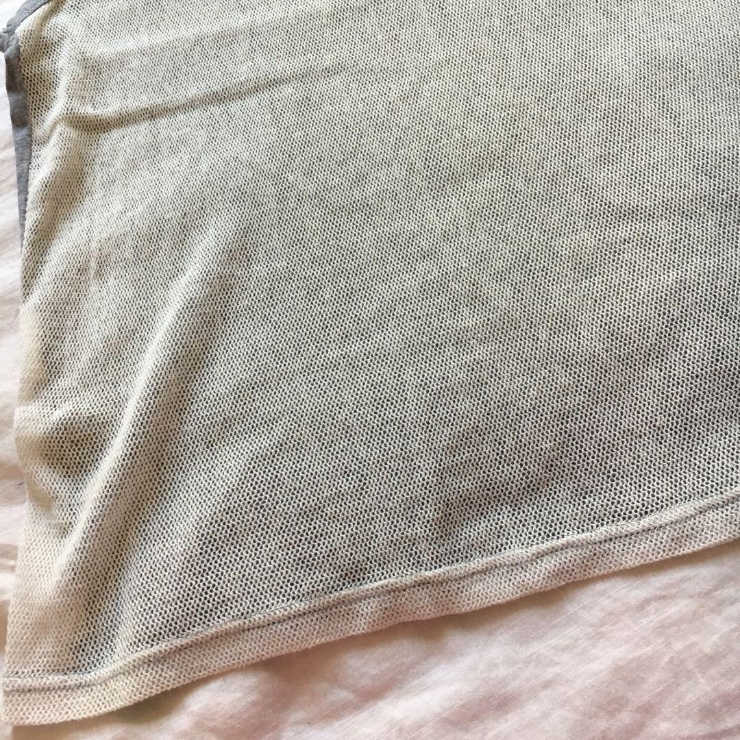 Light Grey Sleeveless Top with Off-White Cream Mesh Panel at the back