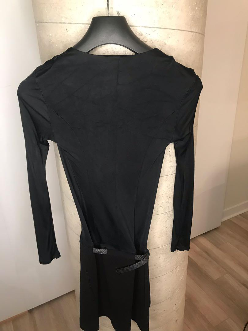 Marciano Black Long Sleeve Plunging Neckline Dress XS