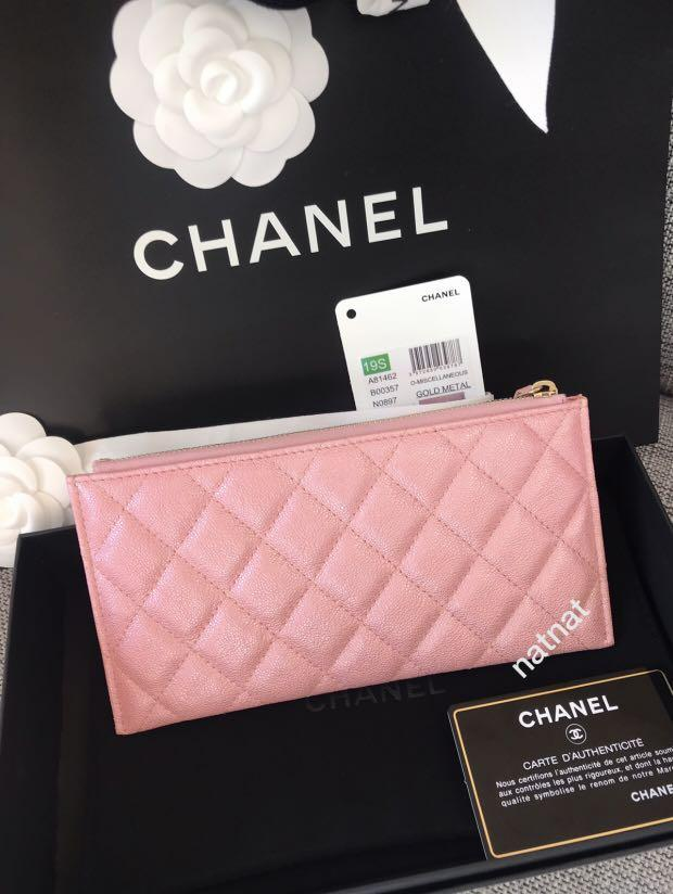 NEW- Chanel Iridescent Pink 19S Long Flat Wallet 🦄