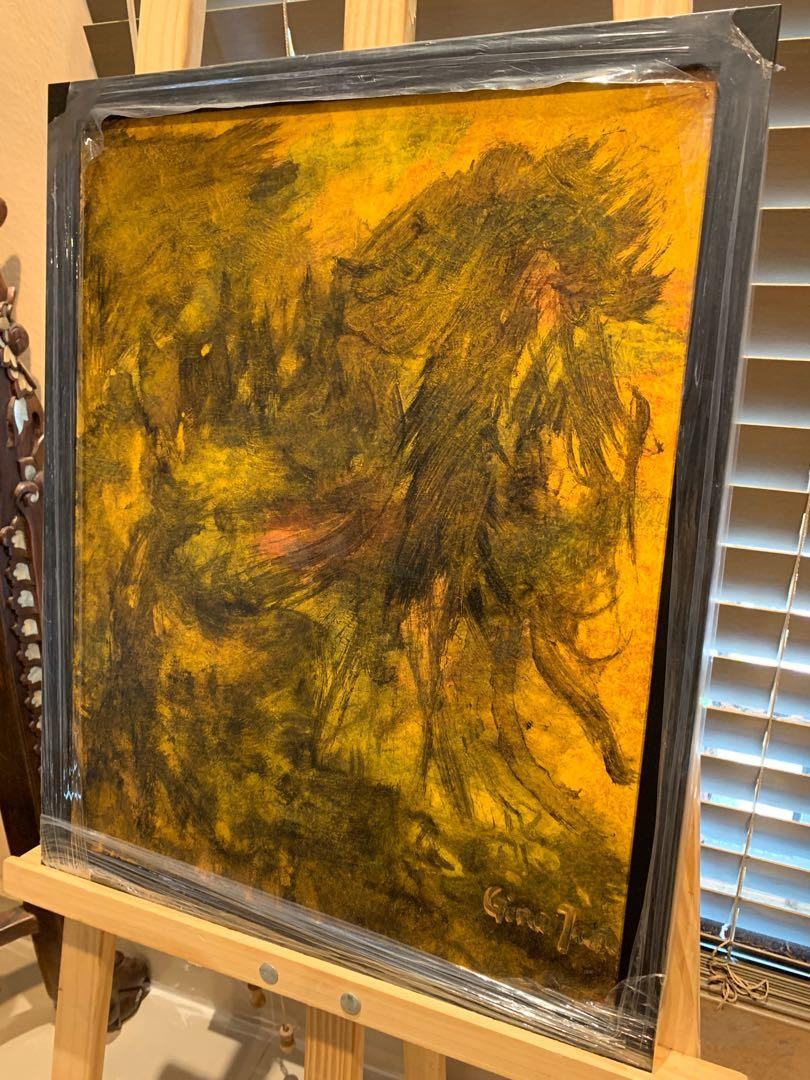 """Original Art Acrylic Painting """"When Darkness Fall"""" With Frame"""