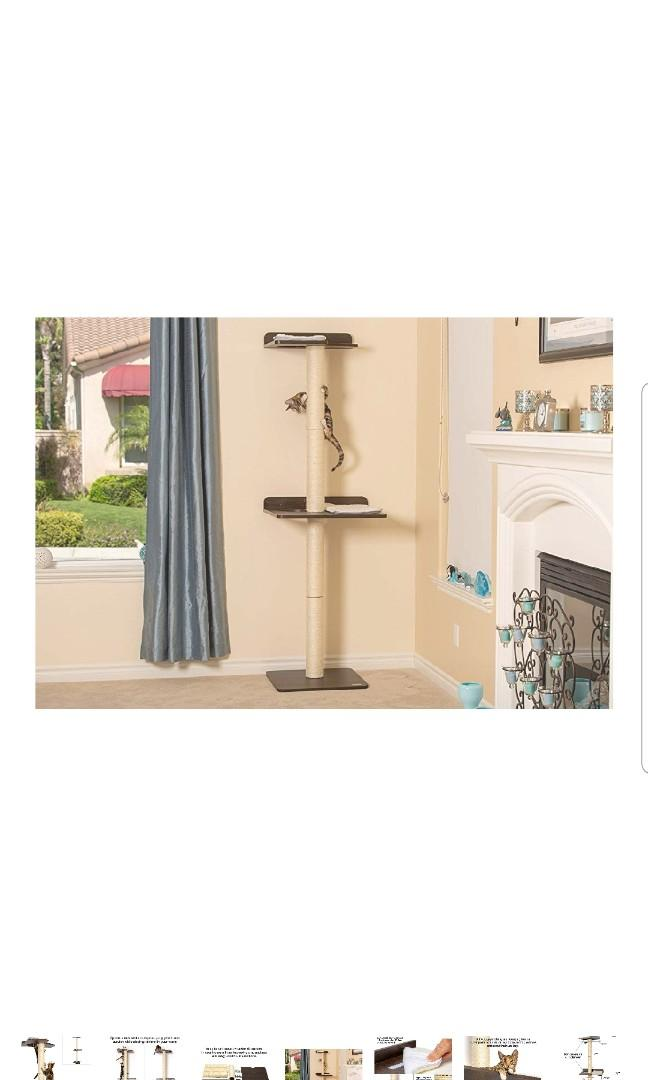 PetFusion Cat Kitten Climbing Tree Tower House Bed. (Tall sisal Scratching Posts, 2 Level Wall Mounted)