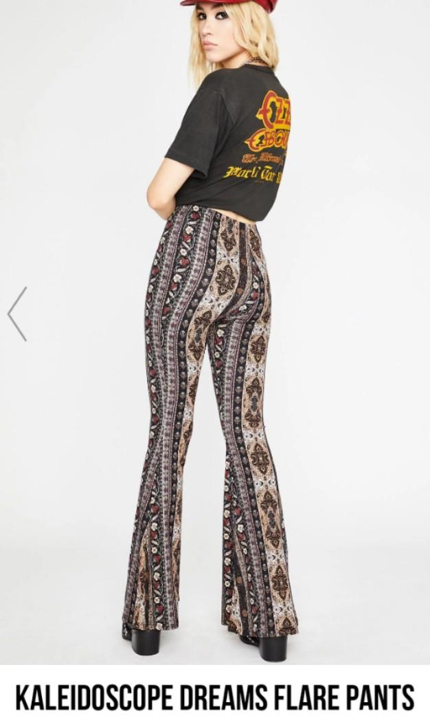 Printed stretchy flare pants boho bohemian kaliedescope dreams dolls kill Small brand new #SwapCA