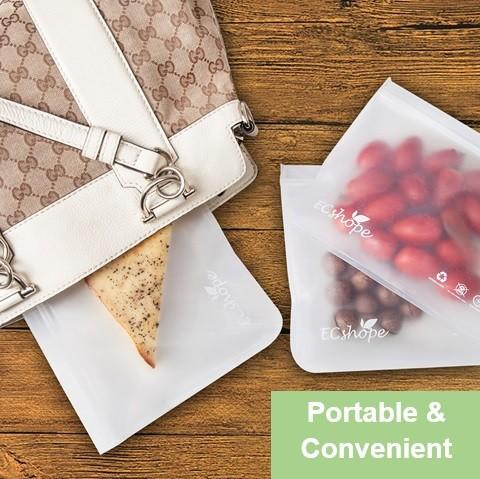 Biodegradable, Reusable Food storage bags made of Food grade and PEVA material with Ziplock , Eco-friendly, Airtight, Leak Proof  and Durable.  The best solutions to reduce the use of plastics bags. Let's do our part to save the environment.