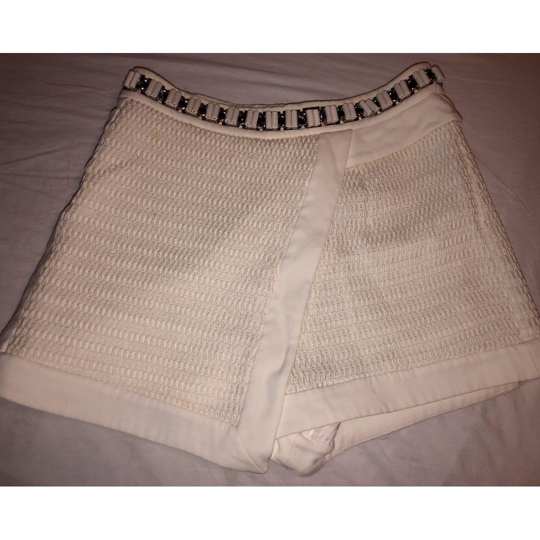 Sass & Bide White Shorts with Black, White & Silver Beading