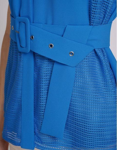Saturday Club - Blue Belted Top With Mesh Trims  - AU XXS