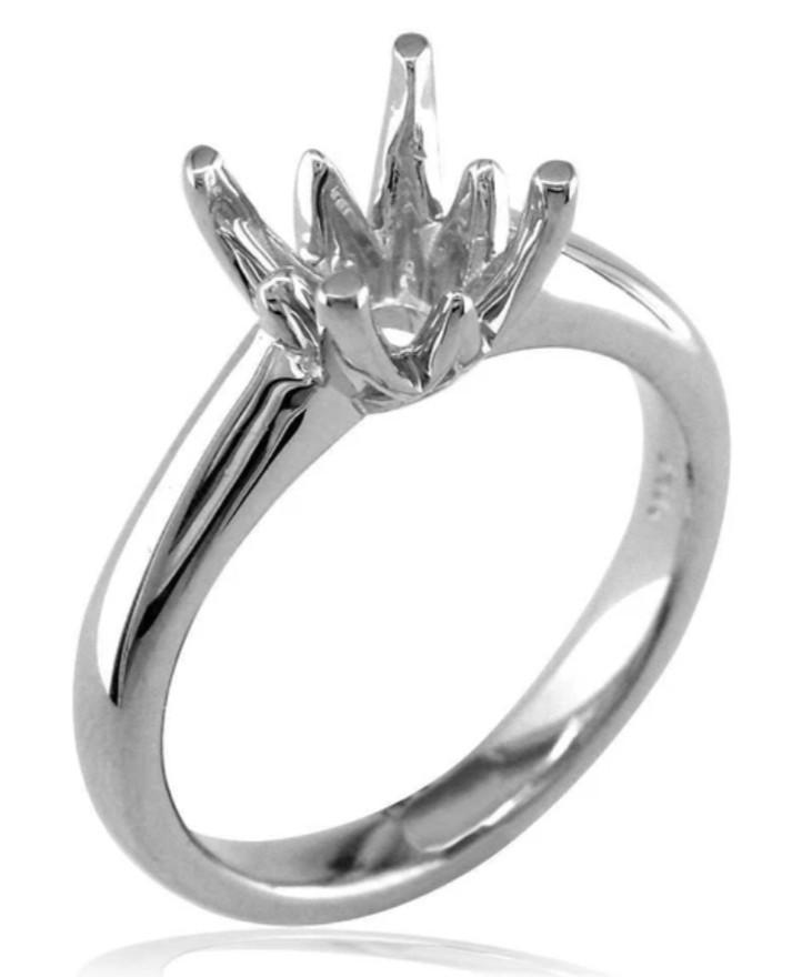 Solitaire Engagement Ring in 14K White Gold Crown Setting