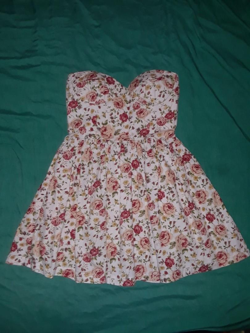 White floral roses print strapless bodice mini dress built in padded bra  lined skirt small #SwapCA