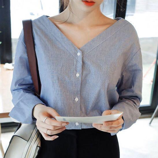 Yesstyle blue v neck blouse