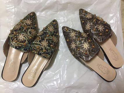 穆勒鞋39號米/藍199元全新