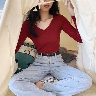 Tinana 🍟 正韓 v領 坑條 棉質 上衣 V領坑條彈性針織打底衣(長袖/短袖)大V坑條針織