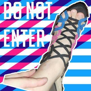 撞色網狀性感羅馬械型涼鞋