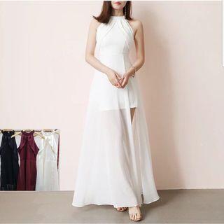 halter long dress (white, black, maroon)