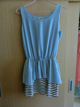 藍色無袖小洋裝