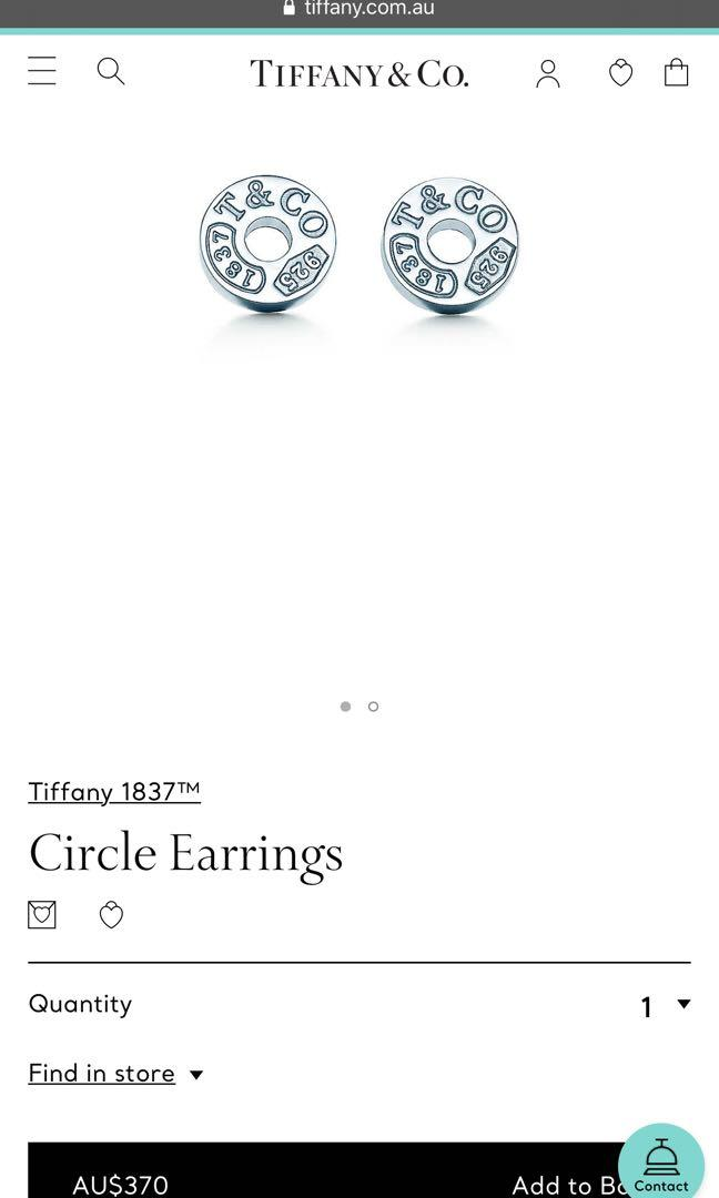 100% brand new authentic Tiffany and Co. 1837 circle stud earrings in sterling silver