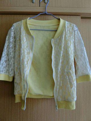 蕾絲黃色上衣外套
