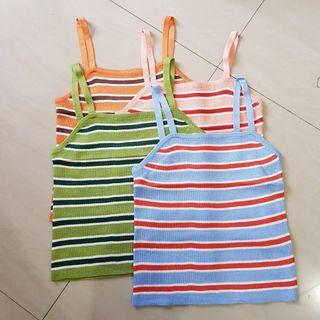 stripes halter top knit (orange, green, sky blue, peach)