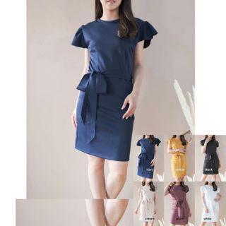 bell tied dress (navy, yellow, black, cream, plum, white)