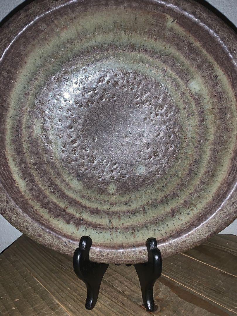 """10"""" Hand Crafted brown & tan glazed Stoneware Pottery Art Bowl Signed Brooks"""