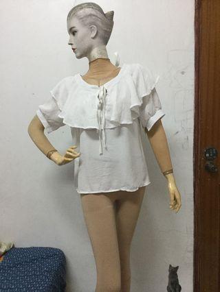 優雅荷葉領白色短袖上衣F號