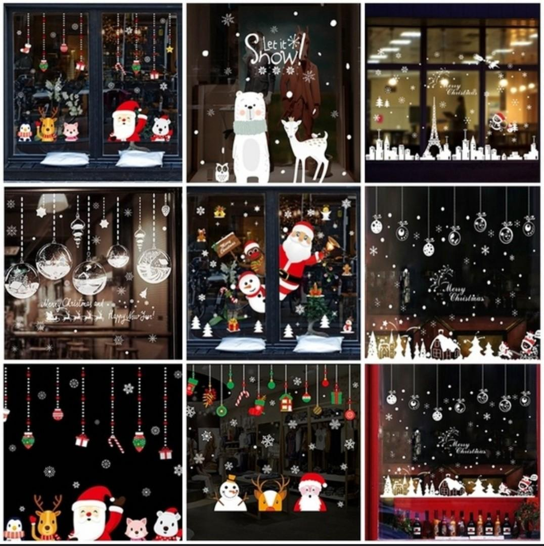 13 Styles Of Christmas Wall or Window Sticker Decorations. Removable Vinyl Wall Decals